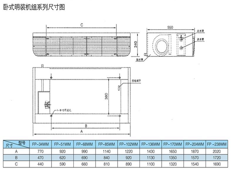 FP-102型卧式明装风机盘管 卧式明装风机盘管